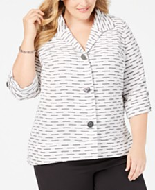 JM Collection Plus Size Textured 3/4-Sleeve Jacket, Created for Macy's