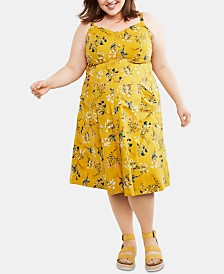 Motherhood Maternity Plus Size Floral-Print Midi Dress