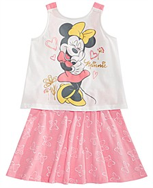 Little Girls 2-Pc. Minnie Mouse Tank Top & Bow-Print Skirt Set, Created for Macy's