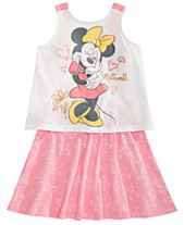49bd91f12 Disney Little Girls 2-Pc. Minnie Mouse Tank Top & Bow-Print Skirt