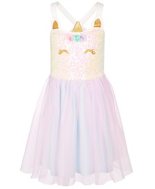 Pink & Violet Little Girls Sequin Unicorn Tutu Dress