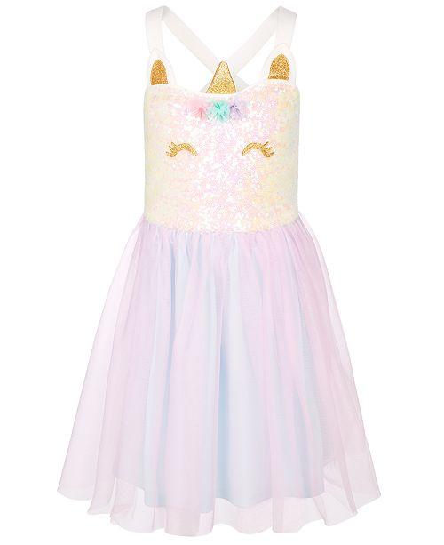 Pink & Violet Little Girls Sequin Unicorn Tutu Dress