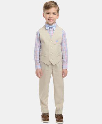 Little Boys 4-Pc. Plaid Oxford Set, Linen Vest, Pants & Bowtie Set