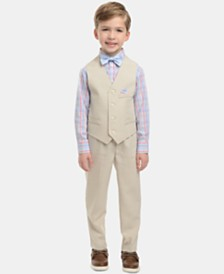Nautica Little Boys 4-Pc. Plaid Oxford Set, Linen Vest, Pants & Bowtie Set