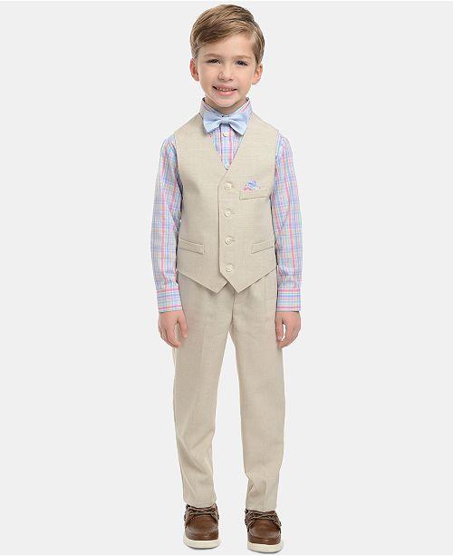 Nautica Toddler Boys 4-Pc. Plaid Oxford Set, Linen Vest, Pants & Bowtie Set