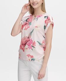 Calvin Klein Floral-Print Keyhole Top