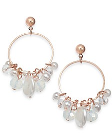 I.N.C. Rose Gold-Tone Shaky Bead Hoop Drop Earrings, Created for Macy's