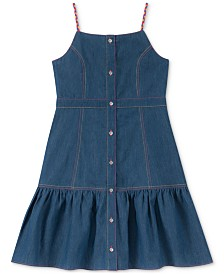 Calvin Klein Big Girls Cotton Contrast Strap Chambray Dress