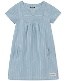 Calvin Klein Big Girls Cotton Chambray Striped Shift Dress
