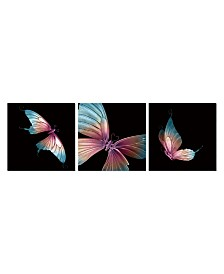 """Chic Home Decor Butterfly 3 Piece Set Wrapped Canvas Wall Art Painting -27"""" x 82"""""""