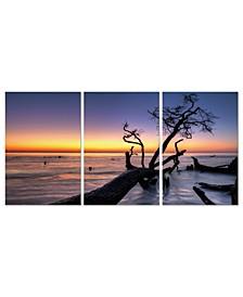 "Decor Hawaii Sunset 3 Piece Wrapped Canvas Wall Art Set -27"" x 60"""