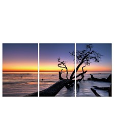 """Chic Home Decor Hawaii Sunset 3 Piece Wrapped Canvas Wall Art Set -27"""" x 60"""""""