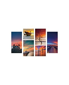 "Chic Home Decor Ocean View 6 Piece Set Wrapped Canvas Wall Art -39"" x 54"""
