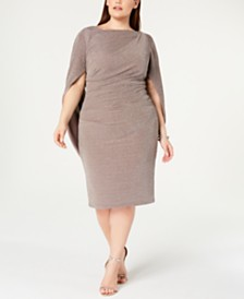 Betsy & Adam Plus Size Metallic-Knit Cape Dress