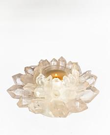 Brasil Home Decor Crystal Quartz Star Candle Votive, Quartz Base