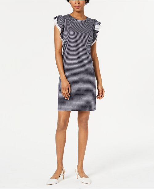 Maison Jules Striped Ruffle-Sleeve Dress, Created for Macy's