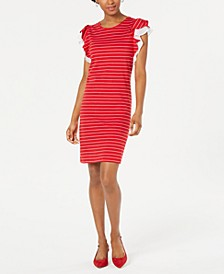 Striped Ruffle-Sleeve Dress, Created for Macy's