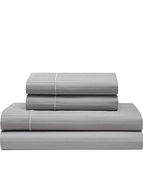 Elite Home Silky Soft Long Staple Cotton Stripe King Sheet Set