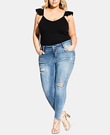 Trendy Plus Size Ripped Skinny Jeans