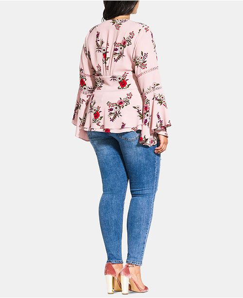 7386240755fe9e City Chic Trendy Plus Size Bell-Sleeve Peplum Top & Reviews - Tops ...