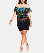 fca5280c8ebaf3 City Chic Trendy Plus Size Tangier Printed Off-The-Shoulder Top