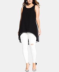 Plus Size High-Low Sleeveless Top