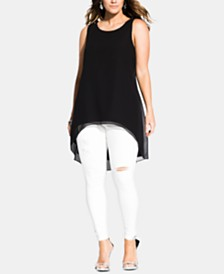 City Chic Plus Size High-Low Sleeveless Top