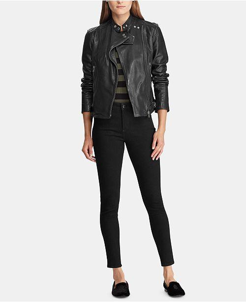 88017d436b6 Lauren Ralph Lauren Leather Moto Jacket   Reviews - Jackets ...