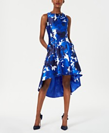 Tahari ASL Printed High-Low Dress