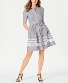 Calvin Klein Cotton Short-Sleeve Lace-Trim Shirtdress