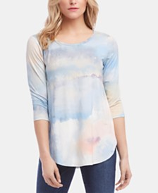 Karen Kane Printed 3/4-Sleeve Top