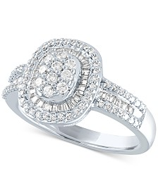 Diamond Oval Cluster Ring (1/2 ct. t.w.) in Sterling Silver