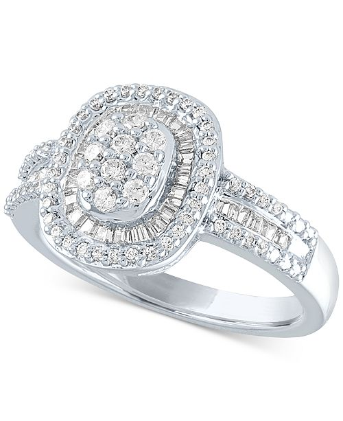 Macy's Diamond Oval Cluster Ring (1/2 ct. t.w.) in Sterling Silver