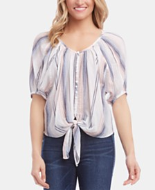 Karen Kane Striped Tie-Hem Cotton Top