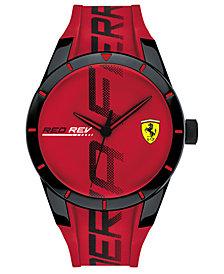 Ferrari Men's RedRev Red Silicone Strap Watch 44mm