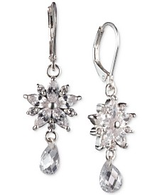 Anne Klein Silver-Tone Crystal Double Drop Earrings