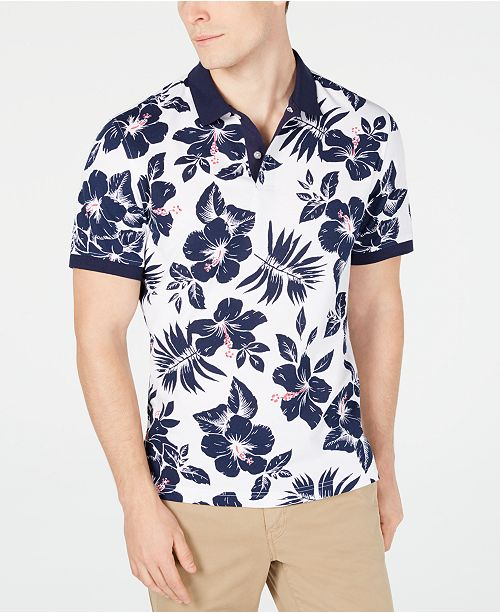 Club Room Men's Hibiscus Flower-Print Polo, Created for Macy's