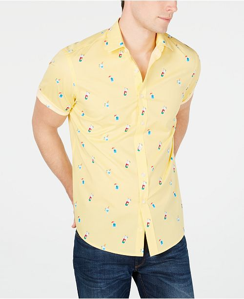 Club Room Men's Cocktail-Print Shirt, Created for Macy's