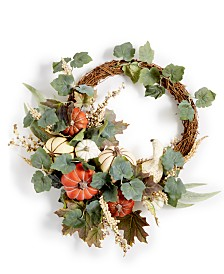 Martha Stewart Collection La Dolce Vita Asymmetrical Artificial Pumpkin Wreath, Created for Macy's