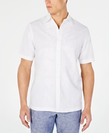 Tasso Elba Men's Embroidered Linen Shirt, Created for Macy's