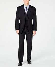 Men's Modern-Fit Stretch Midnight Blue Stripe Suit Separates