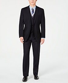 Calvin Klein Men's Modern-Fit Stretch Midnight Blue Stripe Suit Separates