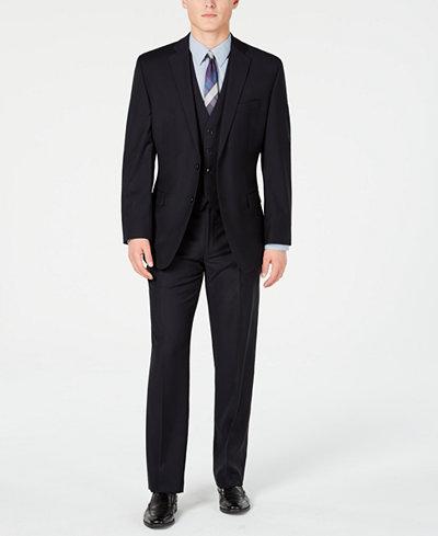 Calvin Klein Men's Modern-Fit Stretch Midnight Blue Stripe Suit Separates