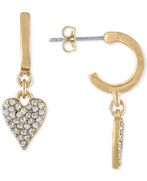 f69193789 ... Heart Drop Earrings; RACHEL Rachel Roy Gold-Tone Hoop & Pavé  Heart ...