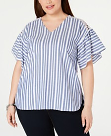 MICHAEL Michael Kors Plus Size Striped Flutter-Sleeve Top