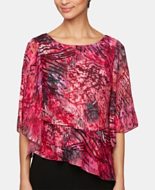 Alex Evenings Petite Printed Ruffled Asymmetric Top