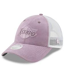 Women's Los Angeles Lakers Suede Trucker 9FORTY Snapback Cap