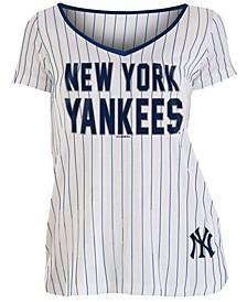 Women's New York Yankees Pinstripe V-Neck T-Shirt