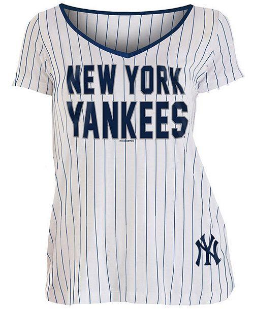 newest 4c23a 53d5d Women's New York Yankees Pinstripe V-Neck T-Shirt