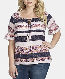 Jessica Simpson Trendy Plus Size Viva Peasant Top